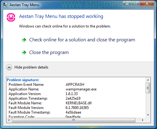Aestan Tray Menu has stopped working - steptoinstall
