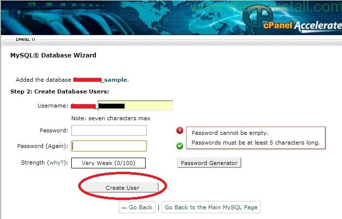 How to Create new Database &Database user in cPanel - Database user in cPanel - steptoinstall