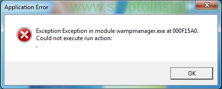 Exception in module wampmanager.exe at 000F15A0 - steptoinstall