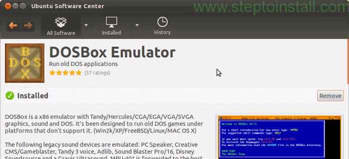 Ubuntu Software Center Install DosBox on Ubuntu - steptoinstall.com