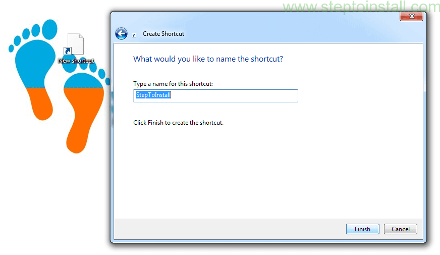 Step to create Windows Desktop Shortcut specific Website URL- steptoinstall.com